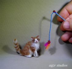 OOAK 1:12 Dollhouse Miniature Cat Kitten Furred Realistic Kitty Handmade IADR