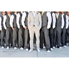 Groomsmen No jackets for a beach wedding! I love it! found on Polyvore