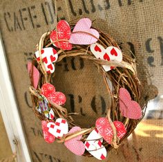 Valentine's Day Playing Card Wreath