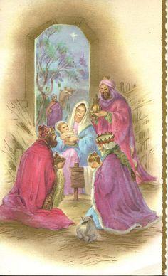 Los Reyes Magos. Antigua tarjeta de felicitación de Navidad. The Tree King´s