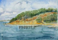 Original watercolour painting The view of Brownsea