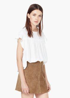 Decorative ruffle blouse - Woman  fa3f98d60bb9f