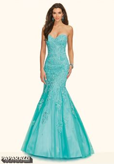 Prom dresses by Paparazzi Prom Beaded Lace Appliques on Tulle Corset Back Closure. Colors Available: Mint Leaf, Coral