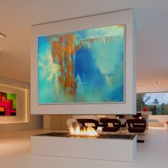 Large abstract Painting Blue Orange Painting Large Modern Painting Original Painting. Dimensions: 78.7 x 63 inches (200 x 160 cm)