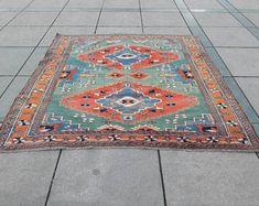 Handmade Vintage floor rug,Area rug,Aztec rug,Oushak rug,area rug,bohemian rug,overdyed rug,5'7X5'9, 175X180Cm rug,Turkish rug,Entry rug