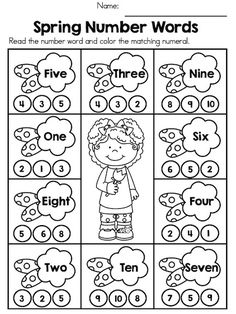 Spring Number Words >> Fun and engaging activity to teach recognition of numbers words.