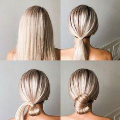 Easy Bun Hairstyles For Long Hair, Wedding Bun Hairstyles, Up Hairstyles, Pretty Hairstyles, Easy Upstyles For Medium Hair, Wedding Updo, Medium Hair Styles, Short Hair Styles, Hair Upstyles