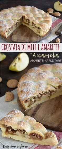 Crostata di mele e amaretti con marmellata o Torta Amamela: una ricetta semplice, golosa e genuina, ma anche molto scenografica con la sua superficie a cupolette!  Amaretti Apple Tart recipe