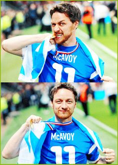 James McAvoy at the Soccer Aid charity match at the Old Trafford stadium in Manchester, England, on June 8, 2014