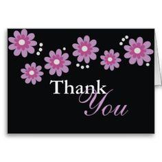 Lavender #Flowers On Black #ThankYou Card