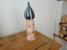Windlicht großer Turm aus Keramik Kerzenständer Adventslicht