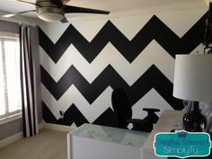 How To: Chevron Wall// This is THE absolute best tutorial I've found for painting Chevron walls. The ribbon was a great suggestion. I can't imagine the headache of drawing the lines for the grid. It took about 5 hours (without accounting for painting the base coat and letting it dry), but it was certainly worth it. I'm in love with the accent wall for our baby's nursery.