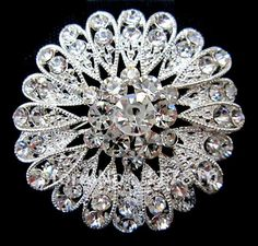 """BEAUTIFUL SILVER PLATED CLEAR CRYSTAL FLOWER BROOCH FOR WEDDING INVITATION 2.17"""""""