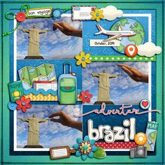 """Brazil Adventure"" - travel digital scrapbooking page   vacation scrapbook layout ideas   Kate Hadfield Designs creative team layout by Karen"