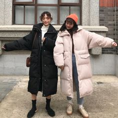 winter outfits korean Winter new Korean style thick warm ins popular loose knee down coat - Korea Winter Fashion, Korea Fashion, Japan Fashion, Autumn Winter Fashion, Korean Winter Outfits, Casual Winter Outfits, Korean Outfits, Cool Outfits, Snow Outfit