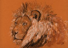 "Original Now Available on Etsy - Male lion africa head study wildlife color animal drawing 8x5"" 21x15 cm art original Watercolor painting by Juan bosco"