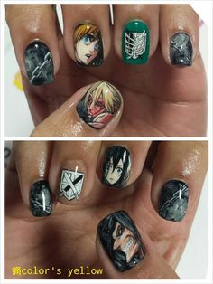 Attack on Titan nails, damn these are super realistic