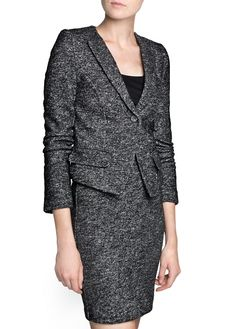 Wool cotton-blend flecked jacket