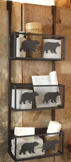Rustic Bear Bathroom Door Shelf. i like this but i would rather have this kind of shelf on a wall in a bathroom.