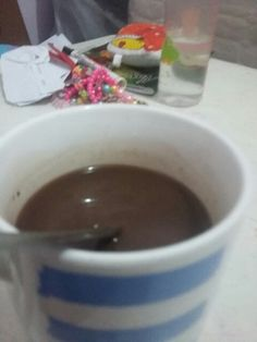 It is a good morning and mommy is making delfi's hot choco and it's yummy.
