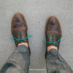 Classic wingtip brogues with colorful laces.