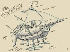 steampunk airship swordfish by azimuth-oakes