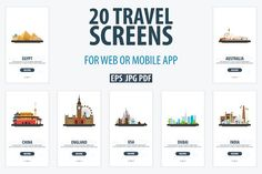 Travel UI/UX Screens by LeoEdition on @creativemarket