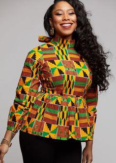 Subira African Print Peplum with Bowtie (Yellow Green Kente) Modern African Clothing, African Print Clothing, African Print Dresses, African Print Fashion, African Dress, African Blouses, African Tops, African Attire, African Wear