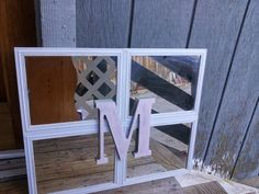 shabby chic Dollar store Craft I made this with four framed mirrors I got at the Dollar tree you can also find these at the 99 cents only stores and the wood letter is from walmart but they sell these at your local hobby store too. Super fun and inexpensive  The Blue House studio