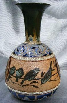 Beautiful Royal Doulton Lambeth 1887 Florence Barlow Stoneware Vase