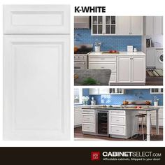 Shop K-Series White Kitchen Cabinets. The line offers solid birch wood and a provides a new color to the existing popular K-series. Birch Kitchen Cabinets, Kitchen Cabinets On A Budget, Painting Kitchen Cabinets, White Cabinets, Plywood Shelves, Plywood Boxes, Ikea, Types Of Cabinets