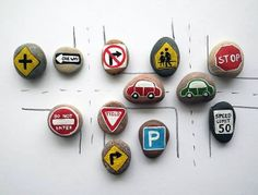 10 Road Signs and 2 Cars with Magnets, Traffic Symbols, Play for Magnetic Chalkboard Rock Crafts, Arts And Crafts, Diy For Kids, Crafts For Kids, Happy Emotions, Painted Rocks Kids, Painted Stones, Painted Pebbles, Stone Painting