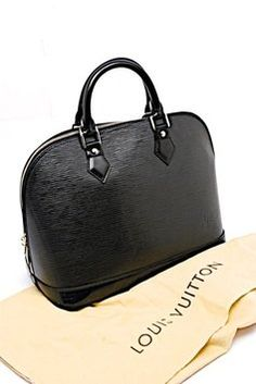 76139d8bf095 Louis Vuitton Alma Epi Tote in Black Louis Vuitton Totes, Pre Owned Louis  Vuitton,