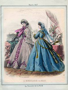 In the Swan's Shadow: Le Moniteur de la Mode, March 1865.  Civil War Era Fashion Plate