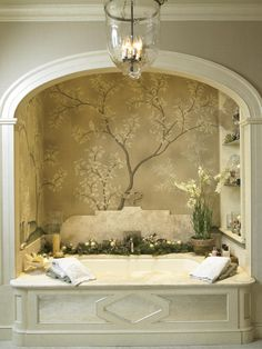 I wish this were my bathroom....elegant, graceful and so pretty without being too fussy!