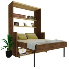 Live and work in a tight space? No problem! say hello to our model Majestic. This double bed + desk combination will let you declutter your available space while hiding your bed and enabling a comfy w Sofa Bed Design, Bedroom Bed Design, Bedroom Furniture Design, Home Room Design, Bed Furniture, Home Decor Furniture, Home Interior Design, Bedroom Decor, Cama Murphy