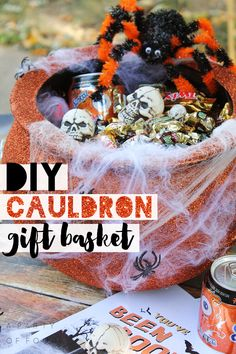 Give the gift of BOO this Halloween with this cute DIY Cauldron Gift Basket! #BOOItForward #CollectiveBias #sponsored