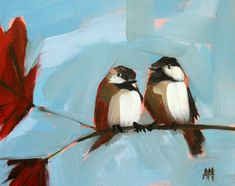 two chickadees on branch no. 19    8 x 10 inches with 1/2 inch white border (20.32 x 25.4 cm)    digital print of painting by Angela Moulton    on