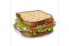 sandwich, color picture by Netkoff on @creativemarket