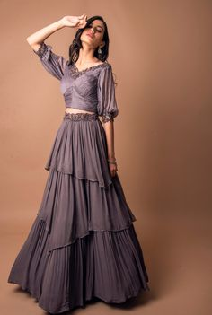 Buy Gray Color Crop Top Skirt by Akanksha Singh at Fresh Look Fashion Indian Fashion Dresses, Indian Gowns Dresses, Dress Indian Style, Indian Designer Outfits, Indian Wear, Designer Bridal Lehenga, Bridal Lehenga Choli, Lehenga Saree, Sarees