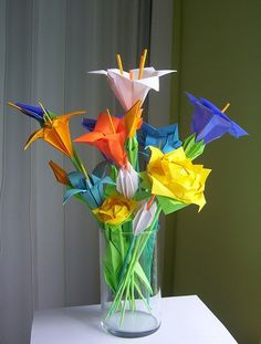 Assorted Origami Flowers. $50.00, via Etsy.