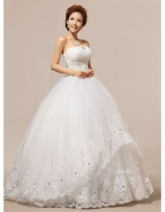 Strapless corset  rhinestones and crystals beaded a-line floor length ball lace wedding dresses wd-265