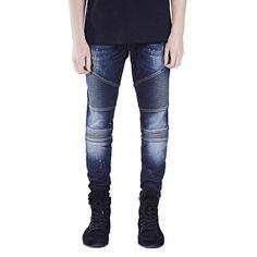 Men Jeans Runway Slim Racer Biker Jeans Fashion Hiphop Skinny Jeans For Men Slim Fit Ripped Jeans, Skinny Jeans, Skinny Fit, Hipster Outfits, Jean Outfits, Streetwear Jeans, Jeans Fabric, Biker Jeans, Jeans Material