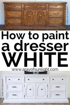 Painting old furniture white can be tricky. Here are the steps you need to take to paint a dresser white. Upcycle your old thrift finds into farmhouse style furniture for your home. Diy Furniture Renovation, Diy Furniture Redo, Repurposed Furniture, Furniture Design, Barbie Furniture, Garden Furniture, Furniture Ideas, Diy White Furniture, How To Paint Furniture