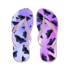 Blue Butterflies Evenings Purple Haze Flip Flops by FutureImaging - CafePress