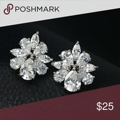 5 ctw Cubic Zirconia Cluster Stud Earrings Studs Gorgeous sparkle!!! These cluster cubic zirconia earrings are 5 ctw equivalent of simulated diamonds.   Rhodium plated  Measure 3/4 inch long  Follow me Jewelry Earrings