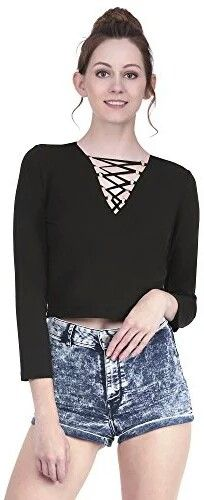 5328c8a54ba Martini Black Front Crisscross Golden Ring Viscose Lycra Crop Top  Amazon.in   Clothing   Accessories