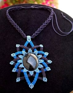 Fiber statement necklace BLUE MANDALA with silver by ARUMIdesign:
