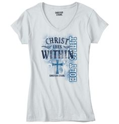 Christ Lives within the Holy Spirit Christian Strong Inspirational Christian V-Neck. More styles & colors available! ♥ Almighty Lord, Bless all those who trust you. #ChristianStrong #God #Lord #Savior #Inspirational