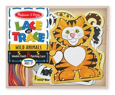 Kids will race to lace and trace with these adorable wild animals! This wooden set contains five sturdy, double-sided lacing panels--featuring a lion, tiger, elephant, giraffe, and zebra--plus five color-coordinated laces. Kids will learn the ins and outs of matching and sorting while honing attention skills and developing hand-eye coordination with this great activity.